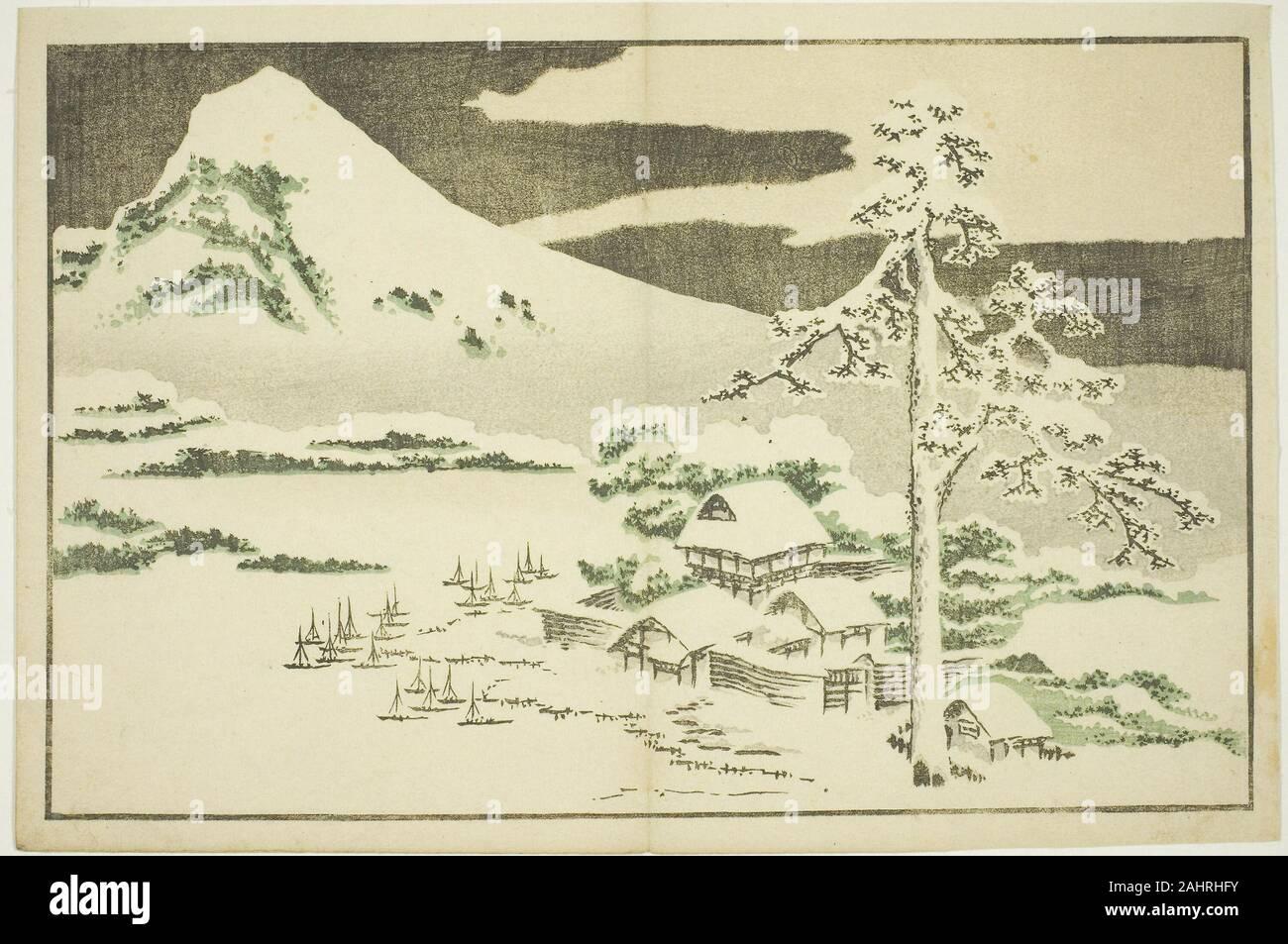 Katsushika Hokusai Mount Fuji In Winter From The Picture Book Of Realistic Paintings Of Hokusai Hokusai Shashin Gafu 1809 1819 Japan Color Woodblock Print Album Sheet Stock Photo Alamy