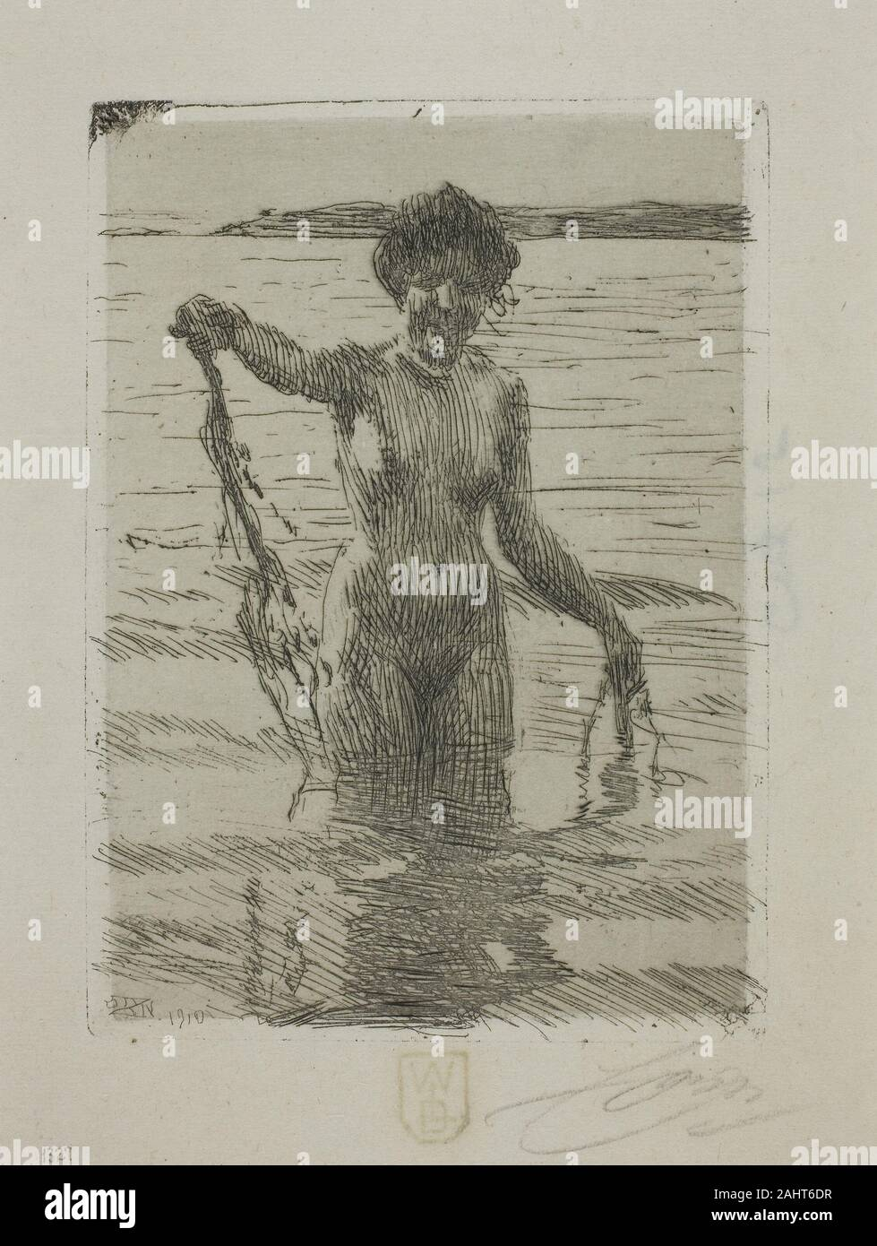 Anders Zorn Seaweed 1910 Sweden Etching On Paper Laid Down On