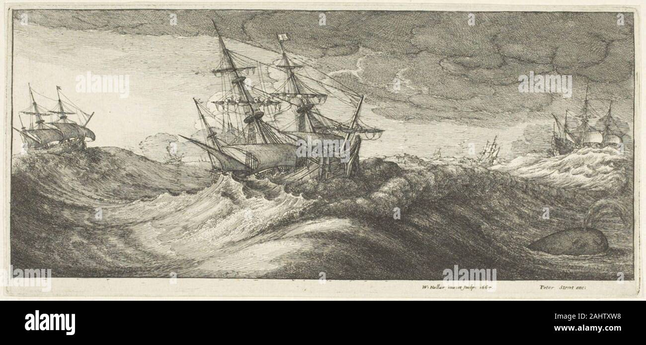 Wenceslaus Hollar. Warships and a Spouting Whale. 1665. Bohemia. Etching on ivory laid paper Stock Photo