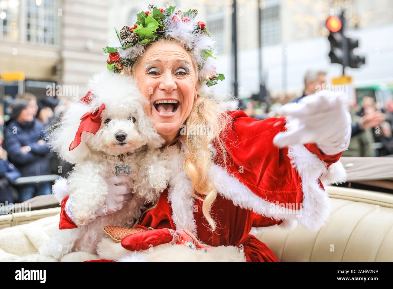 Central Christmas Parade 2020 Central London, 1st Jan 2020. Miss Christmas, Donna Maria, is a