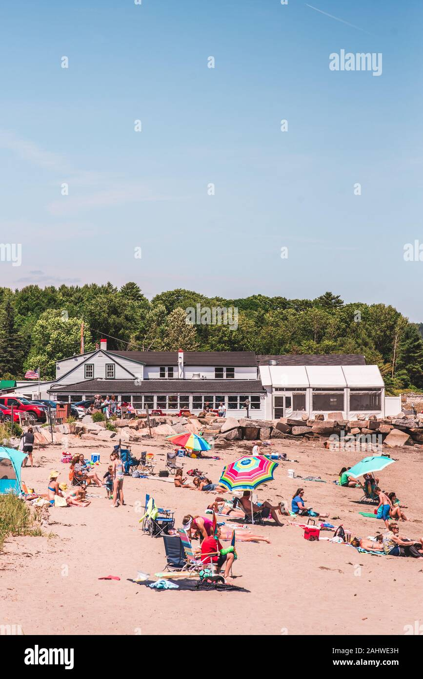 The beach in Lincolnville, Maine Stock Photo