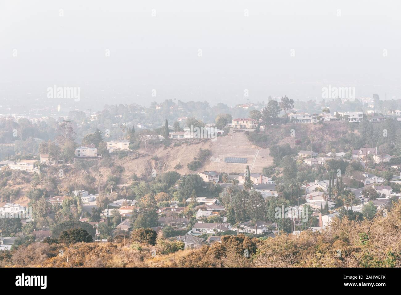 Hazy view from Mulholland Drive in Los Angeles, California Stock Photo