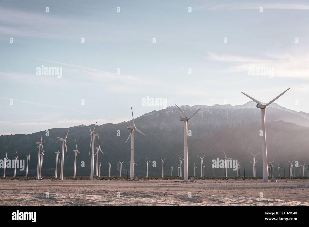 Windmills in Palm Springs, California Stock Photo