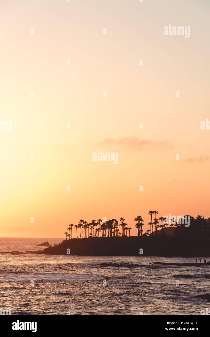 Sunset view from Heisler Park in Laguna Beach, California Stock Photo