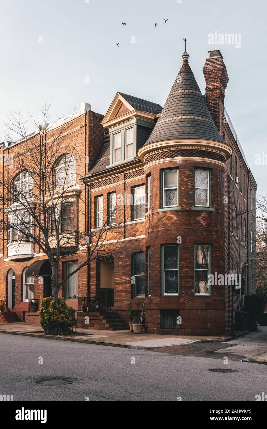 Brick row houses in Reservoir Hill, Baltimore, Maryland Stock Photo
