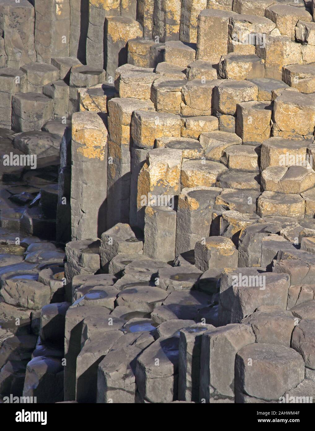 Massive basalt columns and stepping stones of the Giant's Causeway, County Antrim, Northern Ireland, UK. Stock Photo