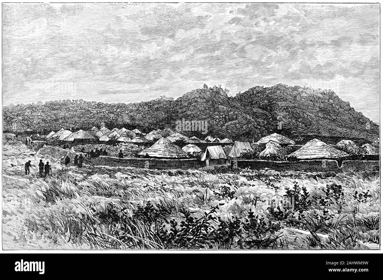 Engraving of a small African village in Uganda during the 1800s. Stock Photo