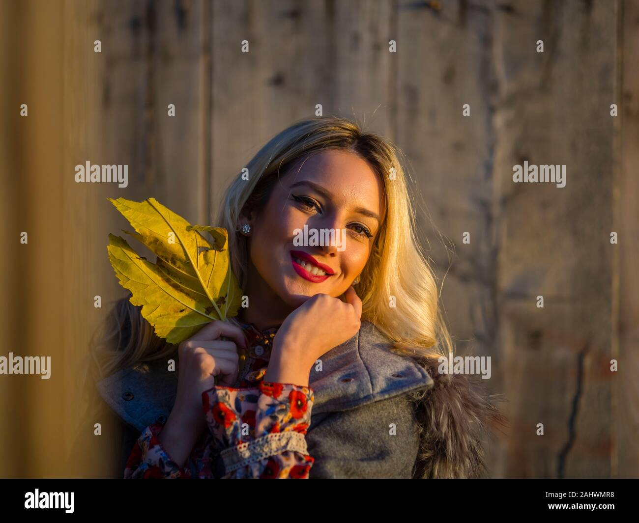 Portrait head and shoulders with Autumn leaf in hand looking at camera eye eyes contact eyeshot sunset warm light Stock Photo