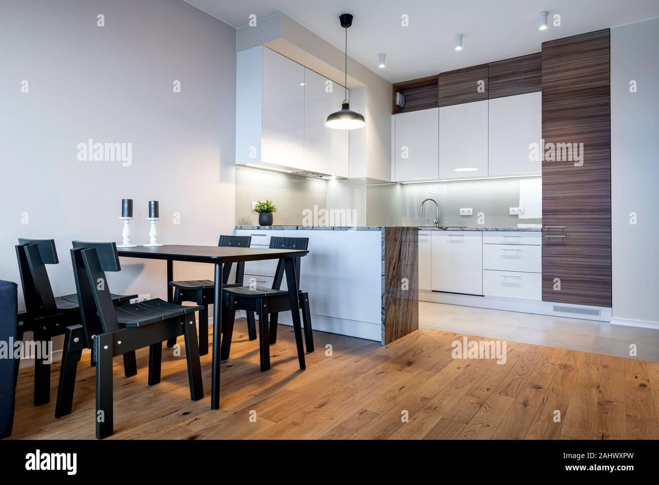 Modern scandinavian living room interior design with open kitchen ...
