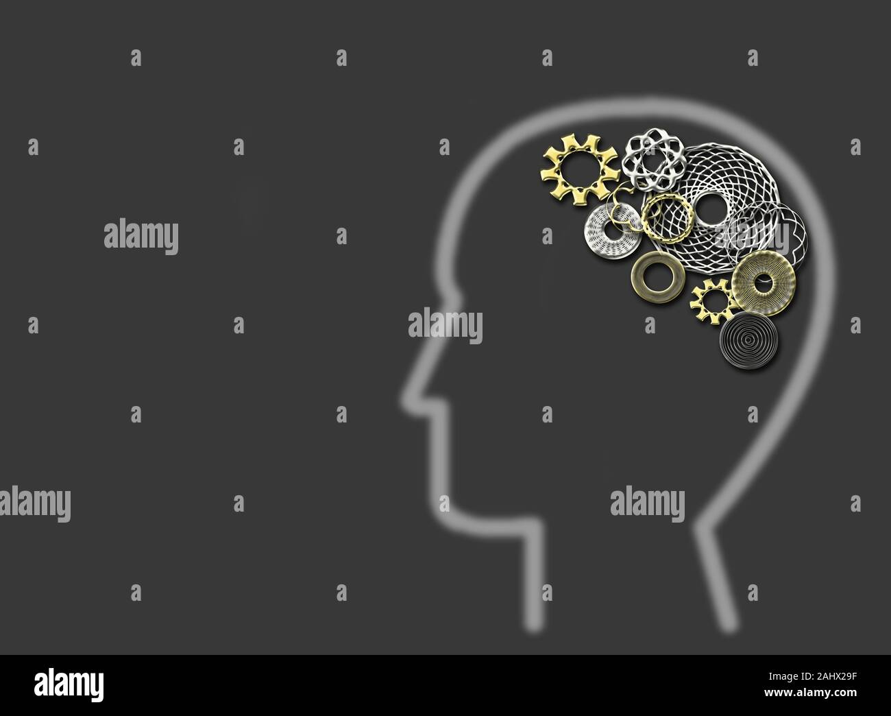 Human with gears and cogs inside showing brain activity Stock Photo