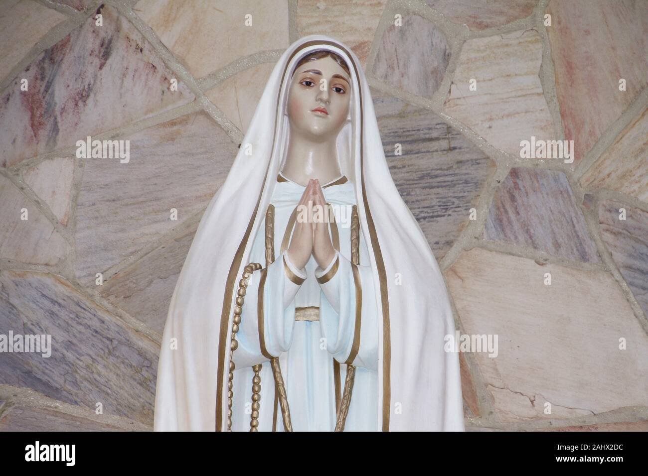 Statue Of The Image Of Our Lady Of Fatima Mother Of God In The