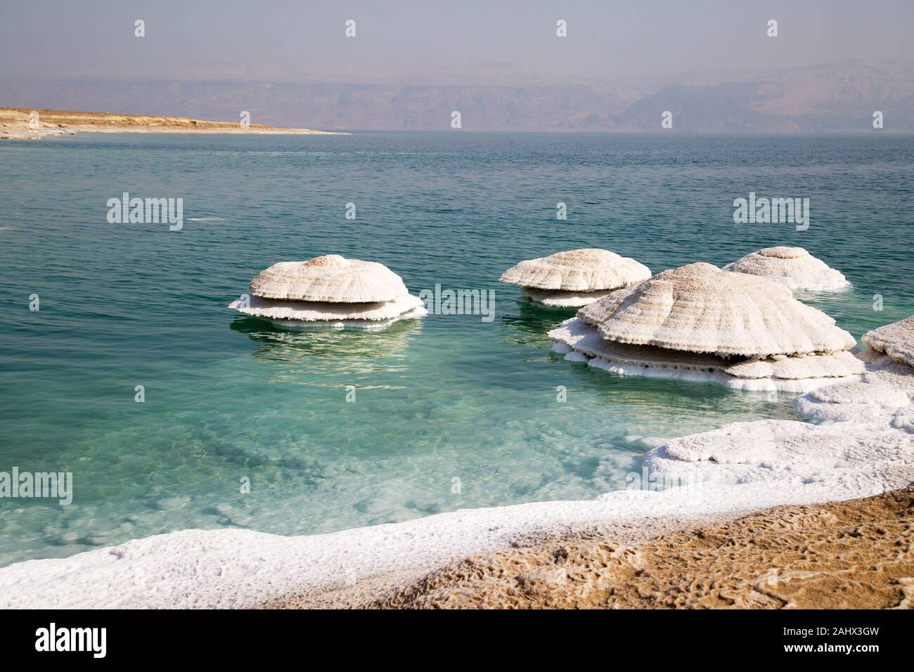 Dead Sea salt chimneys. They form where fresh water flows into the saline water, and are exposed as water levels drop. Stock Photo