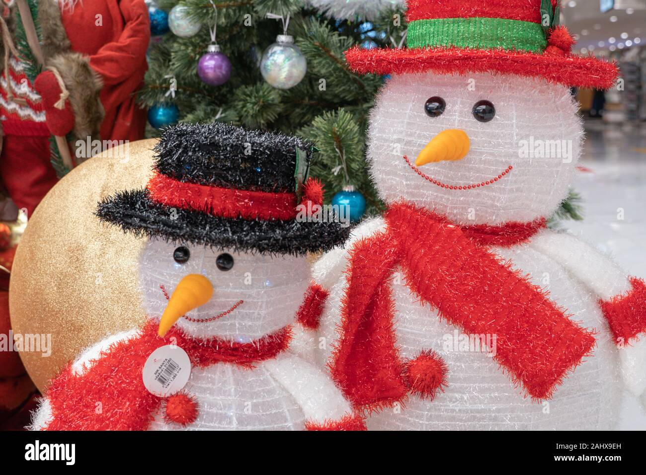 Christmas Decorations With Snowman Christmas Tree Background Happy New Year And Xmas Theme Stock Photo Alamy