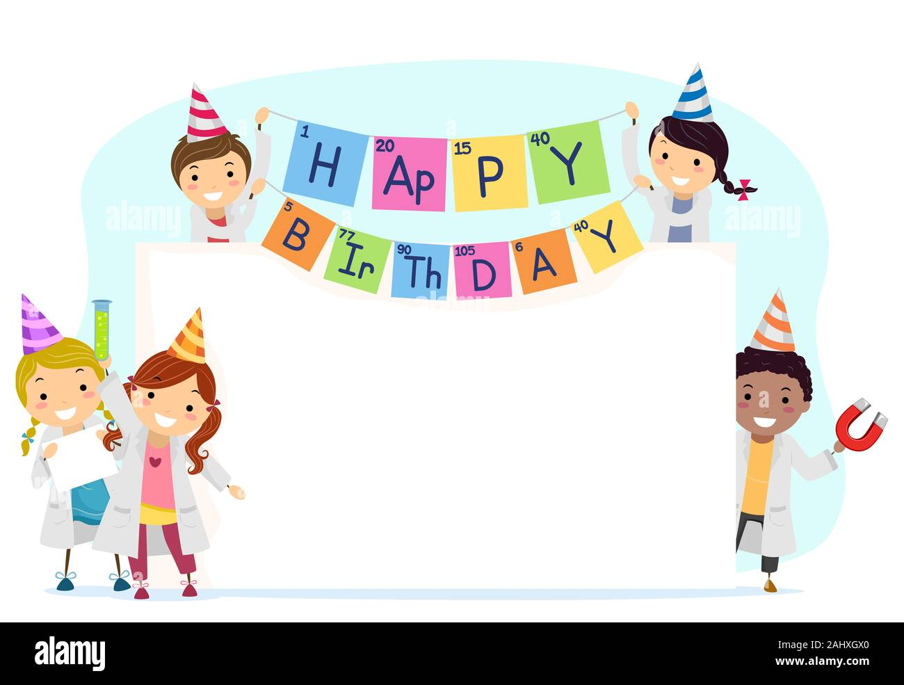 Illustration Of Stickman Kids With Science Themed Decors For A Birthday With A Big Blank Board Stock Photo Alamy