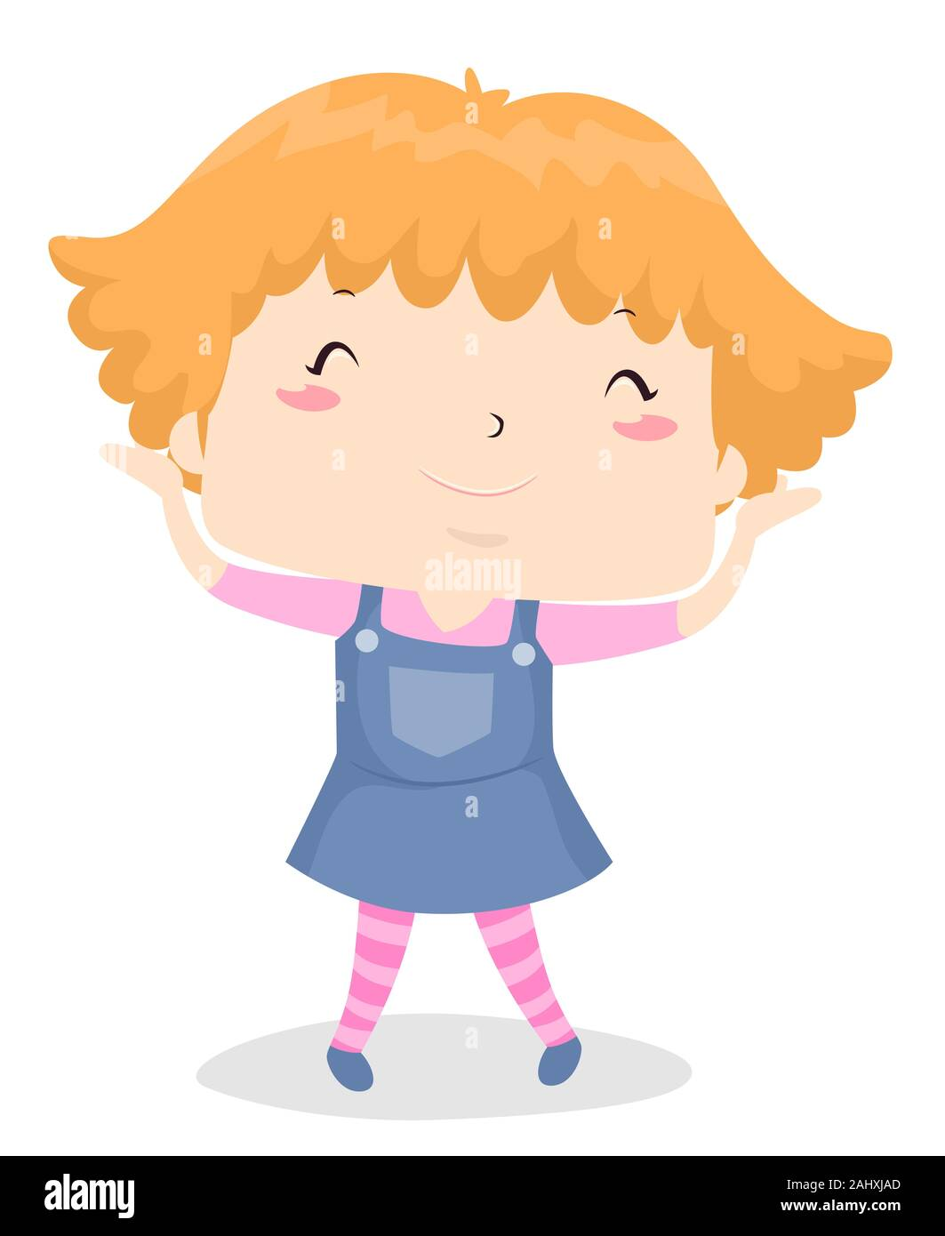 Illustration Of A Kid Girl Showing Her Short Hair Short Adjective Sample Stock Photo Alamy
