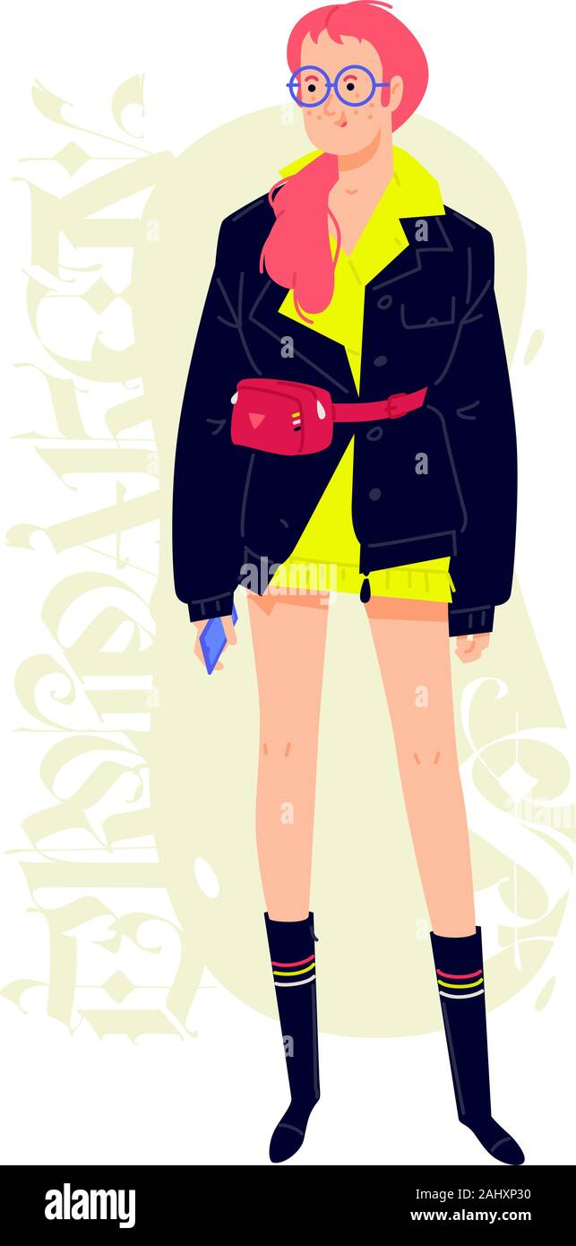Illustration of a young fashionable girl with a phone. Vector. Red-haired girl in a black jacket and glasses. Buyer and shopaholic. Cartoon style. Aga Stock Vector