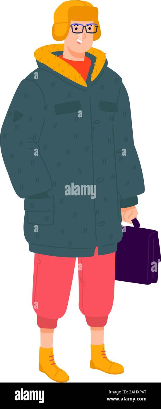 Illustration of a young man in winter clothes. Vector. Stylish hipster in a down jacket with a briefcase. Fashionable guy with glasses and green sneak Stock Vector
