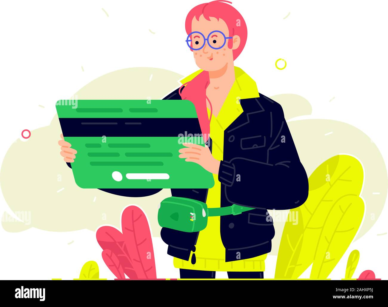 Illustration of a girl with a bank card in a flat style. Vector. Bank customer with a debit card. Investment banking instruments. Deposit, debit and c Stock Vector