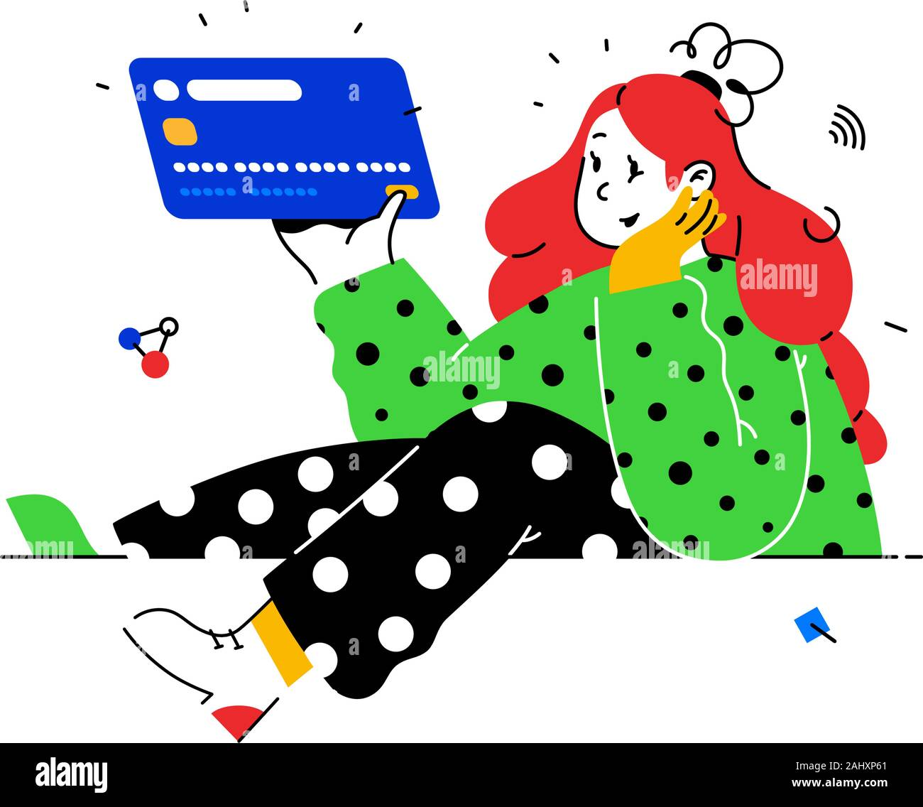 Illustration of a girl with a credit card in abstract style. Vector. Bank customer with a debit card. Investment banking instruments. Deposit, debit a Stock Vector