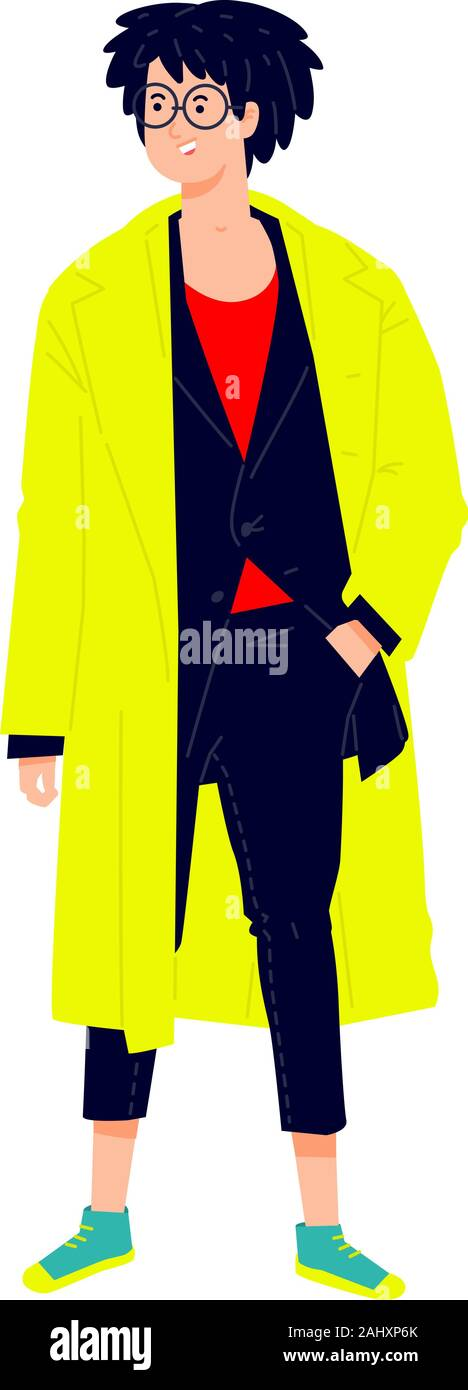 Illustration of a young man in a bright yellow cloak. Vector. Stylish hipster in a suit. Fashionable guy with glasses and green sneakers. Generation Z Stock Vector