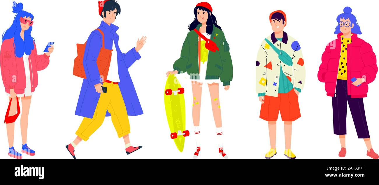 Illustration of a young fashionable people. Vector. Girls and boys in fashionable modern clothes. Generation of Melinials. People of different nations Stock Vector