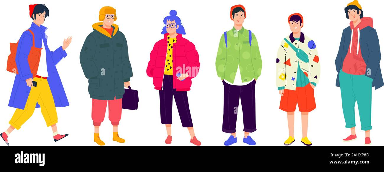 Illustration of a young fashionable people. Vector. Girls and boys in fashionable modern clothes. Generation of Melinials and Hipsters. People of diff Stock Vector