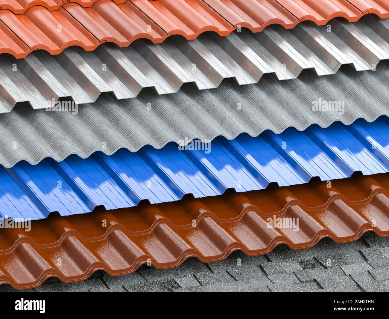 Different Types Of Roof Coating Background From Layers Of Sheet