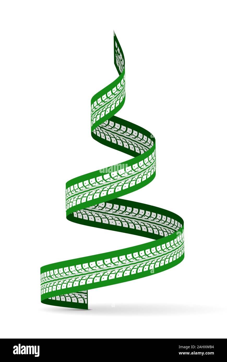 New Year Tree Made Of Tire Tracks Twisted In A Spiral Shape Vector 3d Illustration On A White Background With Shadow Stock Photo Alamy