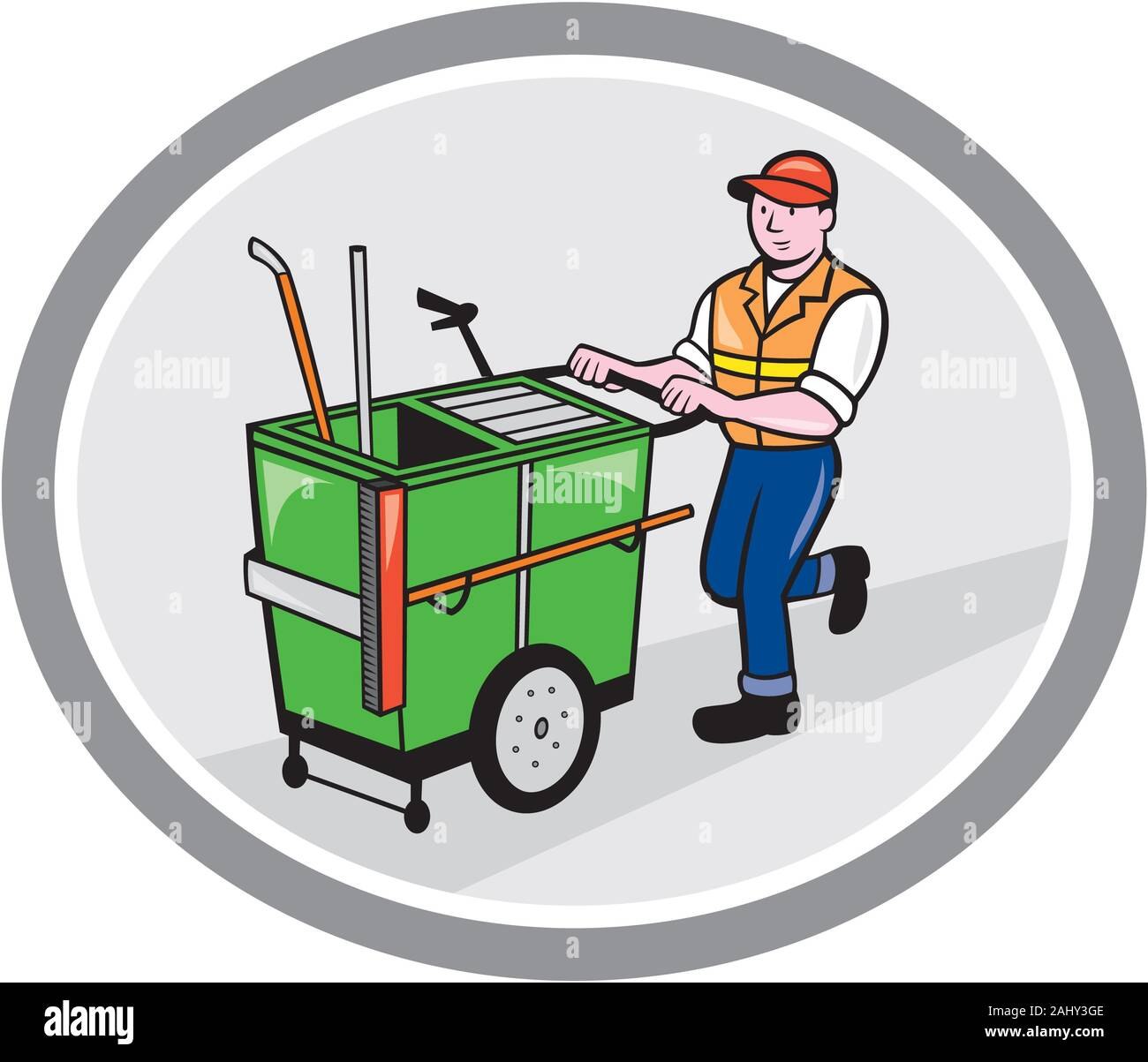 Illustration of a street cleaner worker pushing a cleaning trolley viewed from front set inside an oval circle on isolated background done in cartoon Stock Photo