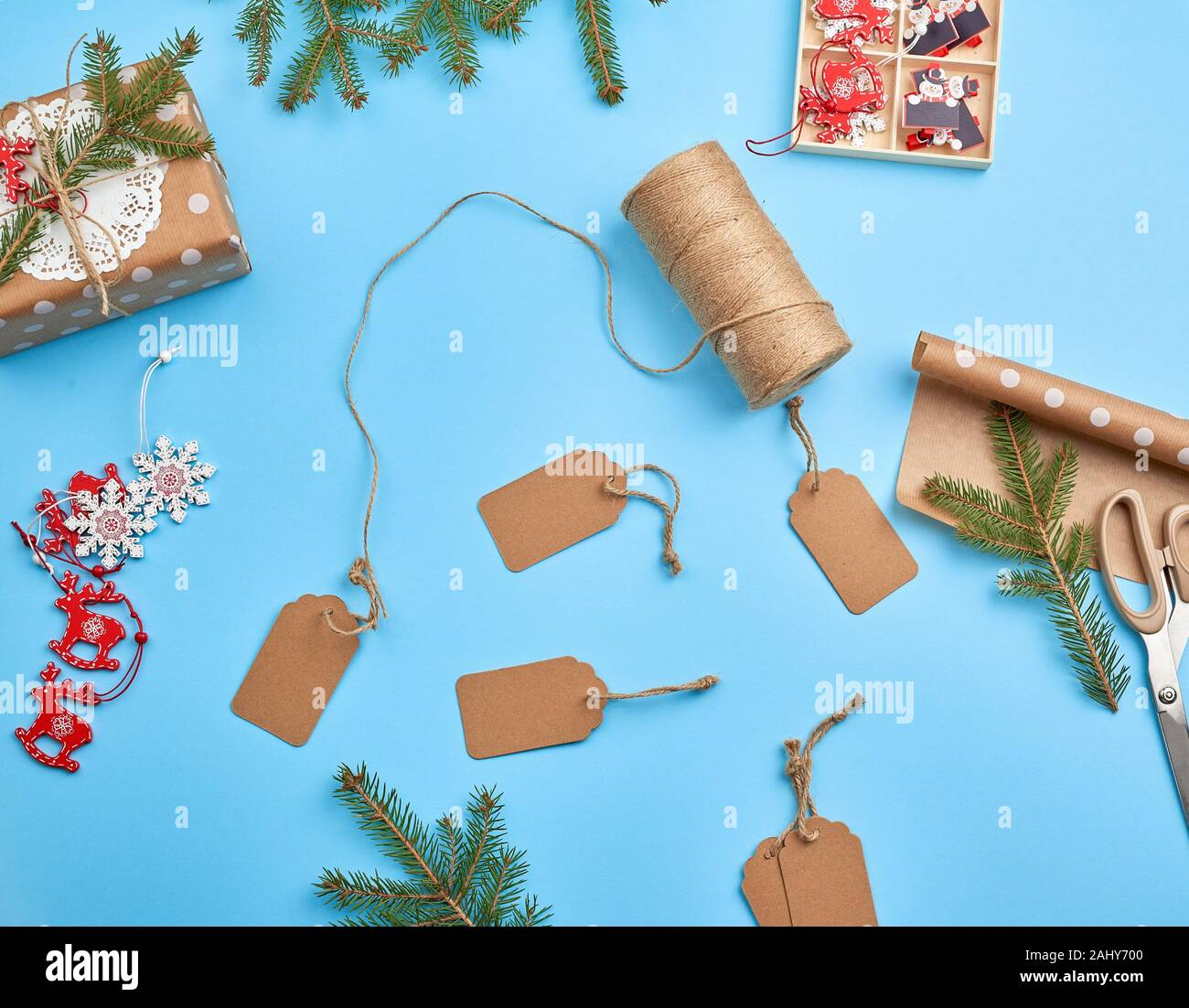 Set Of Various Items For Packing A Holiday Gift Package Design Festive Concept Vintage Festive Label Stock Photo Alamy