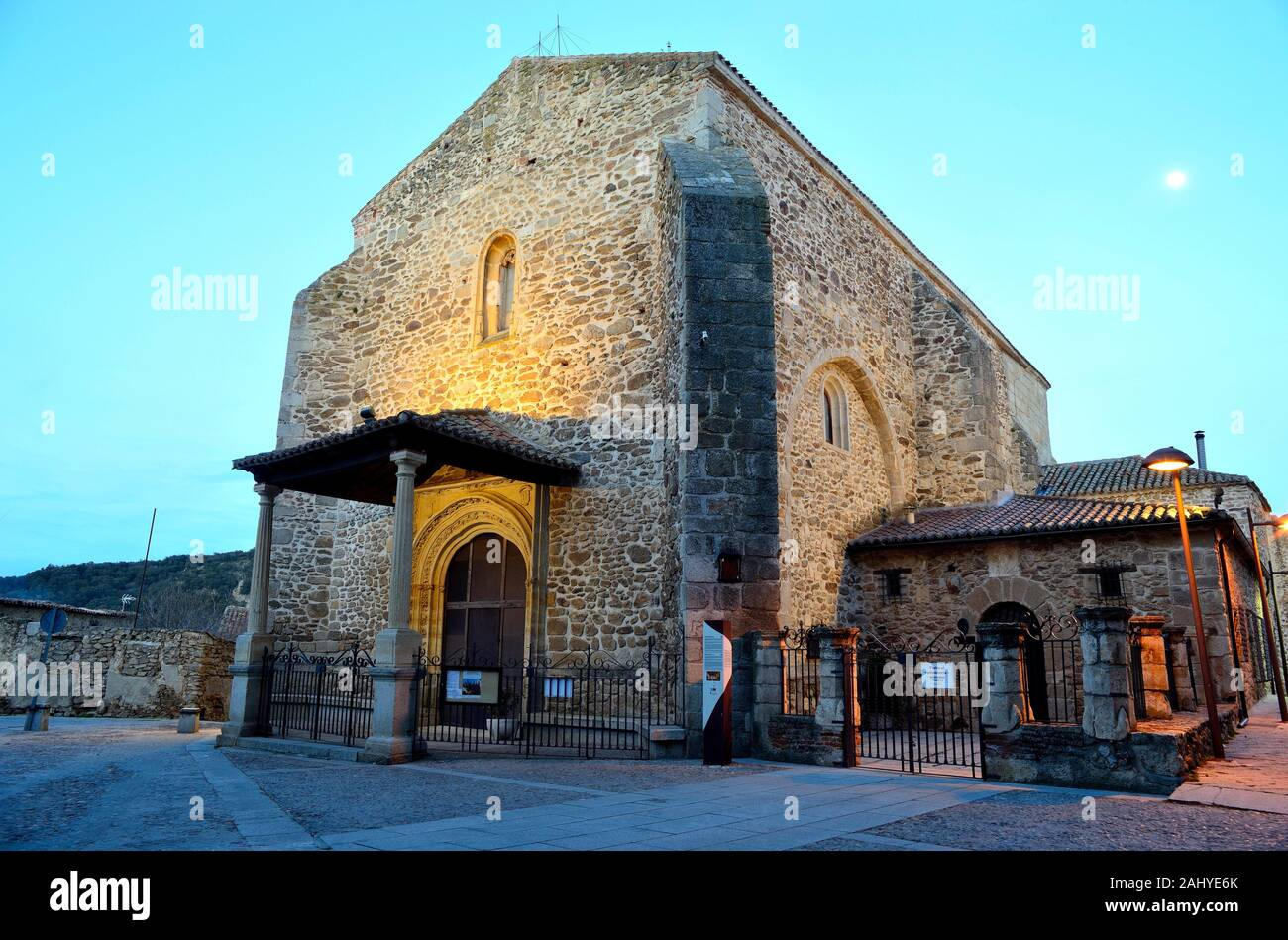 Church of Santa Maria del Castillo in the old town of Buitrago del Lozoya, Madrid, Spain. Stock Photo