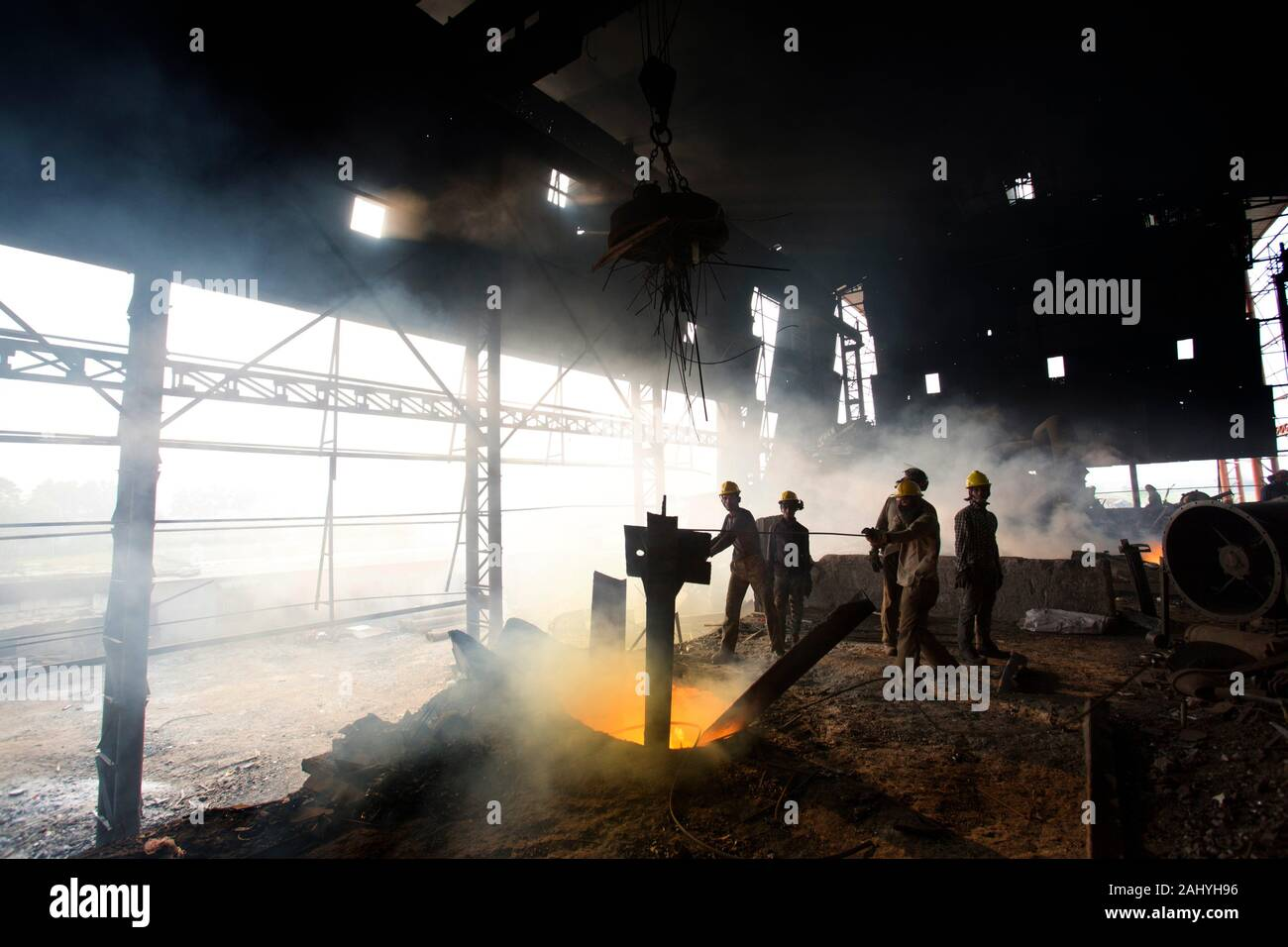 Blast furnace in the melt steel works, risky workers in steel factories are working at Demra, Dhaka, Bangladesh. Stock Photo