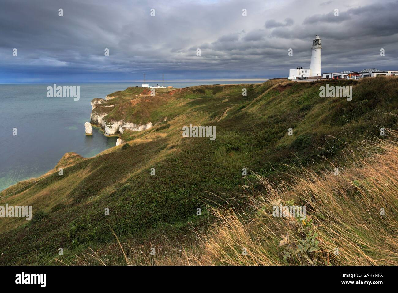 Dramatic clouds over the Chalk cliffs at Flamborough Head, East Riding of Yorkshire, England, UK Stock Photo