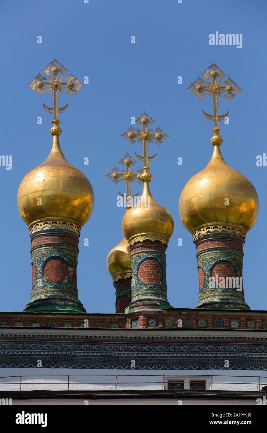 Golden Onion Domes, Kremlin, UNESCO World Heritage Site, Moscow, Russia Stock Photo