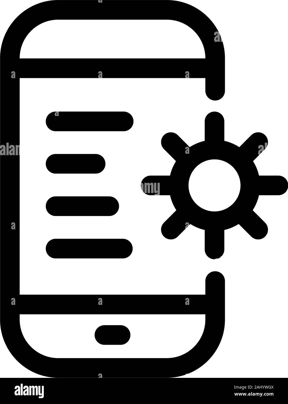 Gear phone icon, repair or smartphone settings. Vector icons on a white background. Trendy linear icon. Icon for website and print. Logo, emblem, symb Stock Vector