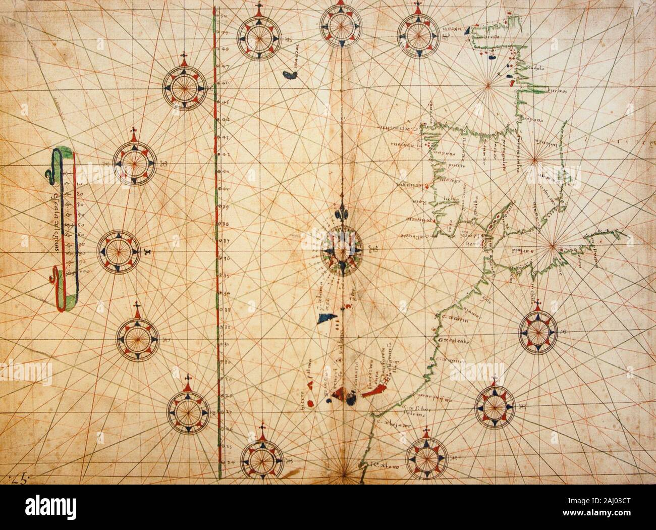 1575 Juan Escalante de Mendoza Map. From book Itinerario de navegacion de los mares y tierras occidentales, page 57. Naval Museum of Madrid, Spain. Stock Photo