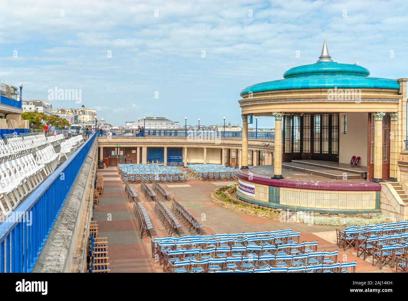 Bandstand at the popular seaside resort of Eastbourne in East Sussex, South England. Stock Photo