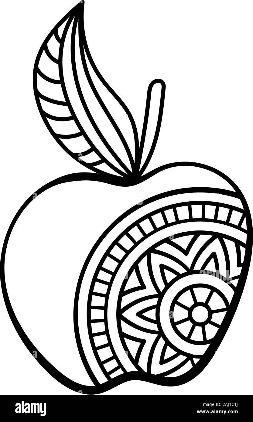 - Apple With Mandala. Coloring Page For Adult And Older Children