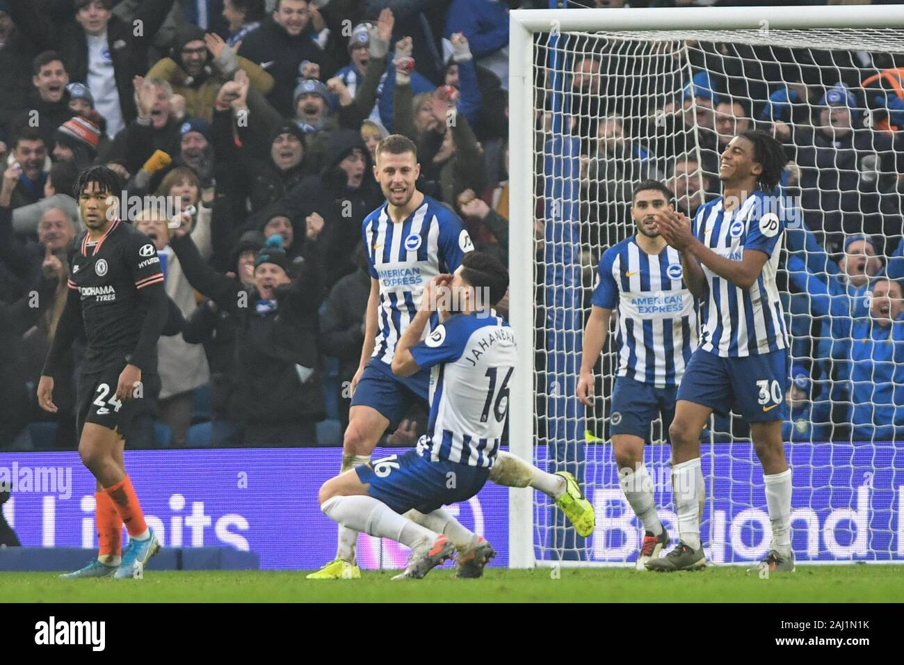 1st January 2020, American Express Community Stadium, Brighton and Hove, England; Premier League, Brighton and Hove Albion v Chelsea :Alireza Jahanbakhsh (16) of Brighton & Hove Albion FC celibrates his great goal to make it -1-1 Credit: Phil Westlake/News Images Stock Photo