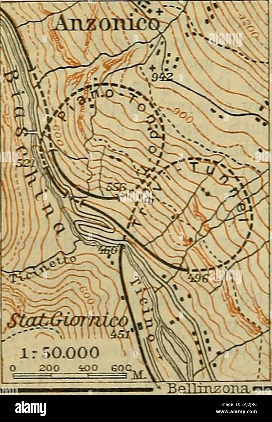 Switzerland ; and the adjacent portions of Italy, Savoy and Tyrol ; handbook for travellers . to a lower re-gion of the valley. At Dazio Grande(3110) the railway crosses the Ticino,and after being carried through twoshort tunnels and the Freggio SpiralTunnel (1712 yds.), it emerges inthe Piottino Ravine, 118 lowerdown. It then recrosses the Ticino(fine scenery), passes through theMonte Piottino and Par dorea Tun-nels, and descends 118 more by meansof the Prato Spiral Tunnel (1711yds.). Finally,, beyond the short Buscierina Tunnel, opens thefertile valley of Faido. The Ticino is crossed by the Stock Photo