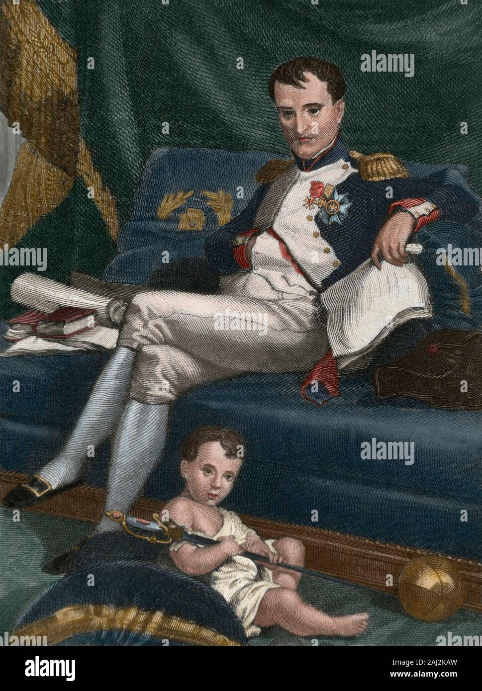 Napoleon I (Napoleon Bonaparte) (Ajaccio, Corsica,1769-St. Helena Island, 1821). French military leader and emperor of The French (1804-1815). Napoleon I and his son Napoleon II (1811-1832), called King of Rome. He never reigned. Engraving, Later colouration. Stock Photo