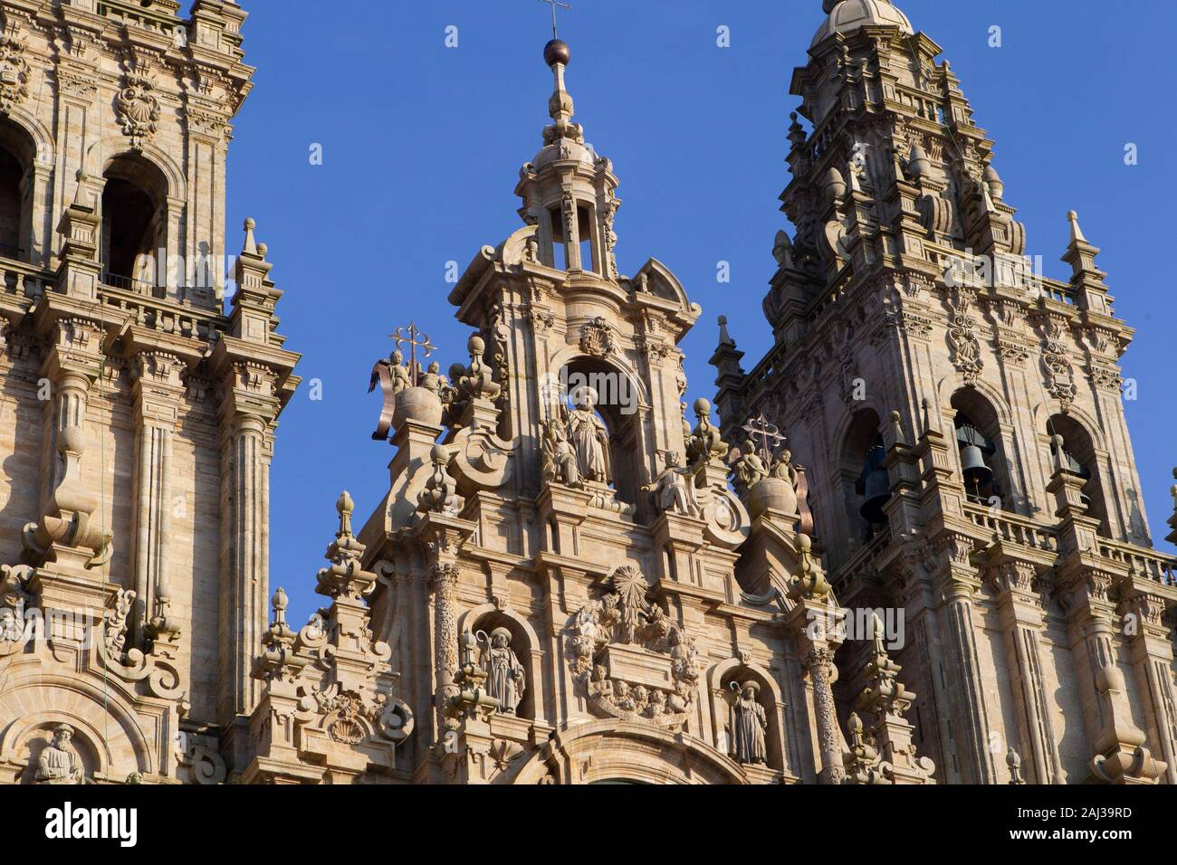 view of the main baroque facade of the cathedral of Santiago de Compostela in the obradoiro square on December 6, 2019 Stock Photo