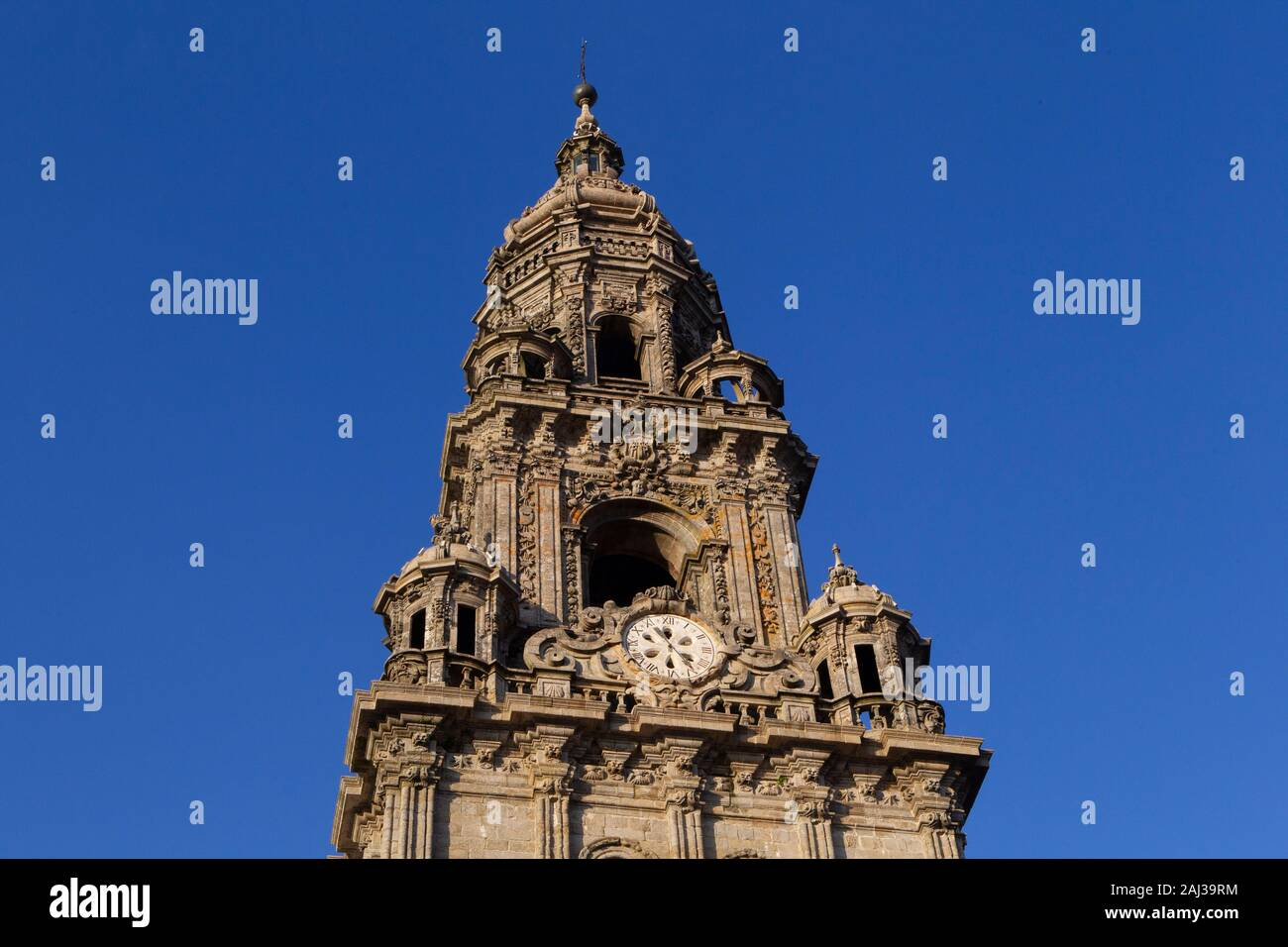 Clock tower of the cathedral of Santiago de Compostela Stock Photo