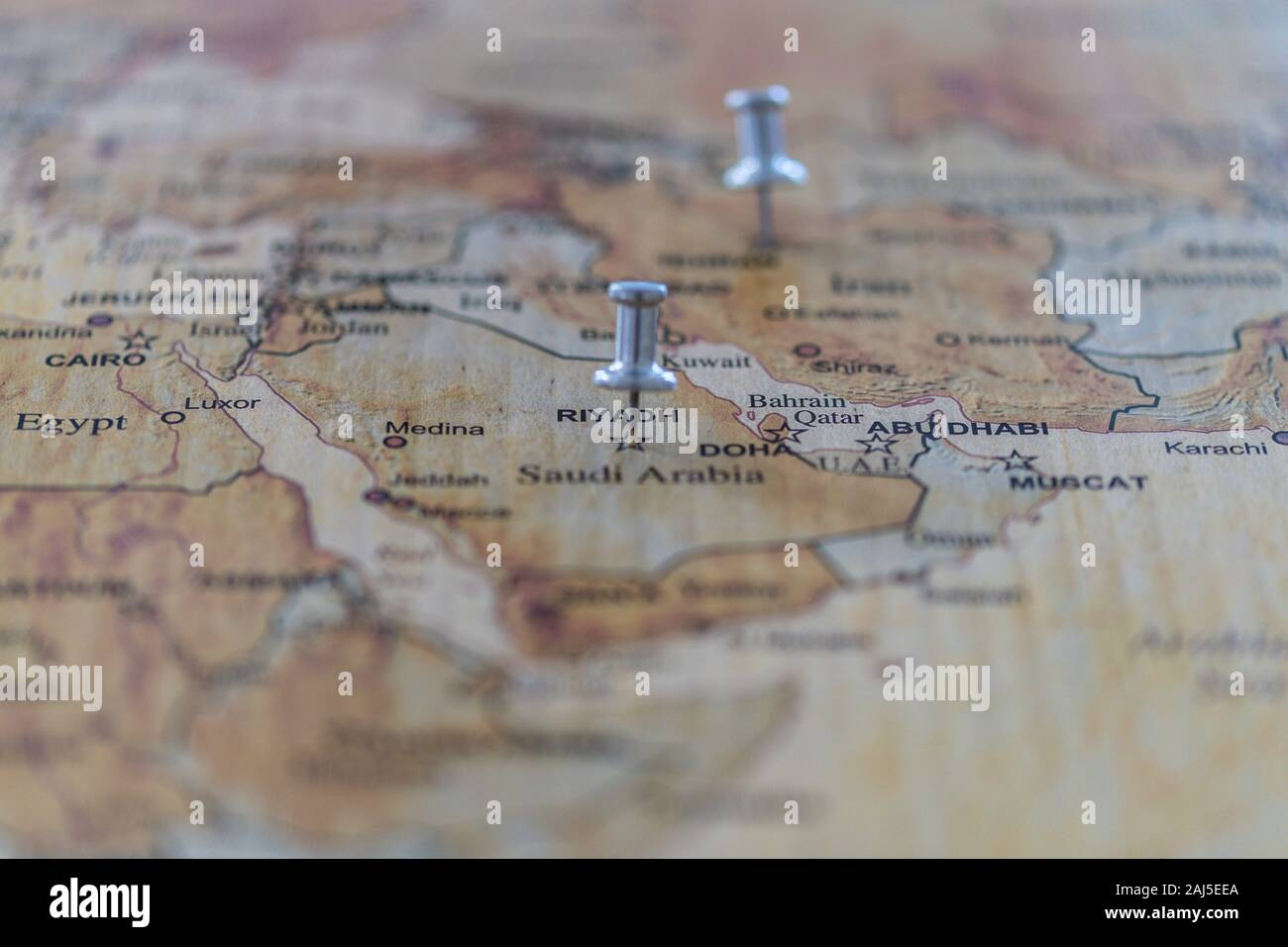 World Map With Map Pins In Some Capital Cities Stock Photo Alamy