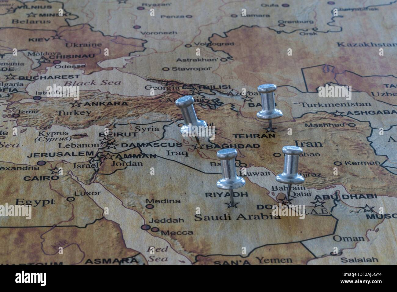 Picture of: World Map With Map Pins In Some Capital Cities Stock Photo Alamy