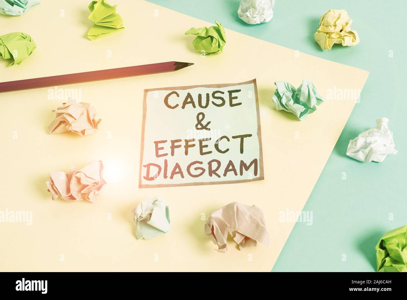 Word writing text Cause and Effect Diagram. Business photo showcasing Visualization tool to categorize potential causes Colored crumpled papers empty Stock Photo