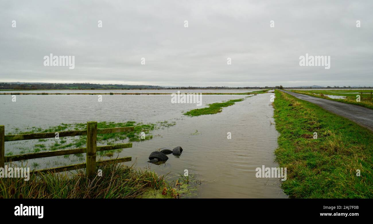 Flooded fields near Mark, Somerset, England Stock Photo