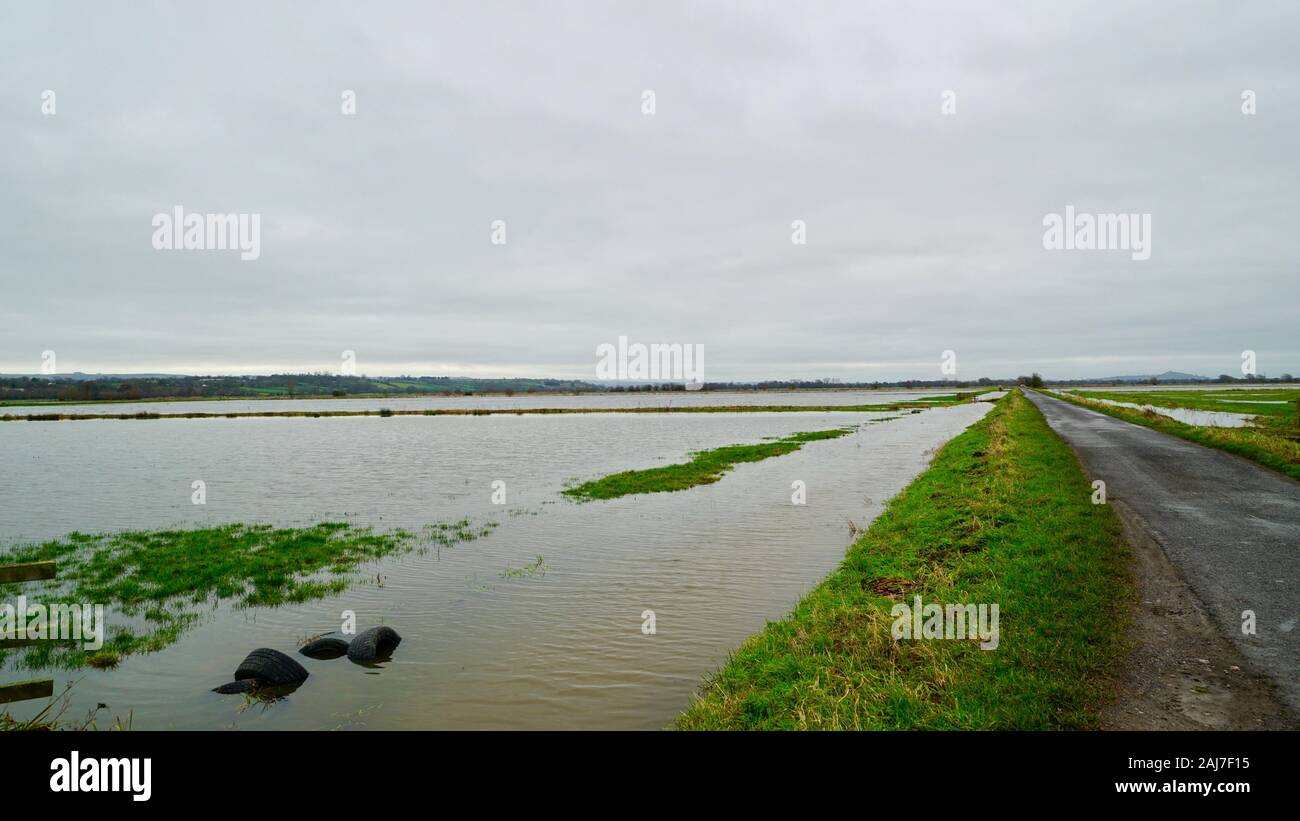 Flooded fields near Mark, Somerset Stock Photo
