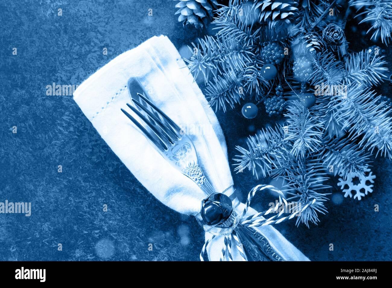Christmas View Decoration 2020 Classic blue 2020. Gradient color palette. Decor Christmas table