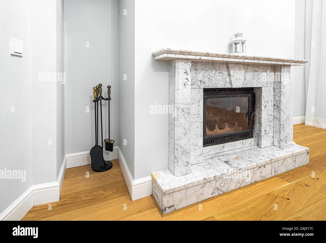 The Marble Fireplace In Living Room Modern Luxury Interior In Light Tones Stock Photo Alamy